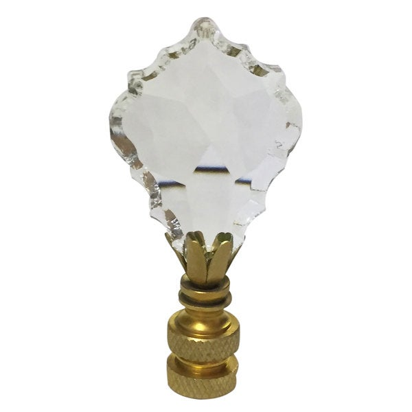 Royal Designs Pendalogue French Cut Clear K9 Crystal Lamp Finial For Lamp Shade With Polished Brass