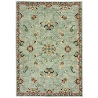 Floral Traditional Blue/ Teal Area Rug (3'10 X  5' 5)