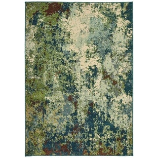 "Abstract Distressed Blue/ Green Area Rug (3'10 X 5' 5) - 3'10"" x 5'5"""