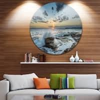 Designart 'Bright Sydney Sunset Over Sea' Seashore Round Metal Wall Art