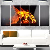 Designart 'Wood Stove with Fire and Blaze' Abstract Glossy Metal Wall Art