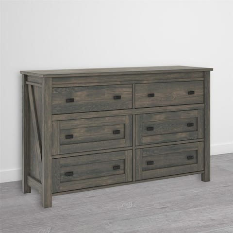 The Gray Barn Latigo Weathered Oak 6-drawer Dresser