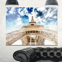 Beautiful view of Paris Eiffel Tower under Clouds - Cityscape Glossy Metal Wall Art