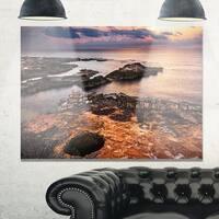 Ancient Ruins on Beach Sunset - Oversized Beach Glossy Metal Wall Art