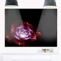 Purple Abstract Fractal Flower - Floral Digital Art Glossy Metal Wall Art
