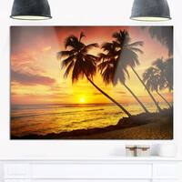 Barbados Island Evening Seashore - Modern Seascape Glossy Metal Wall Art