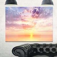Cloudy Blue Sky and Ideal Sunset - Extra Large Seascape Glossy Metal Wall Art