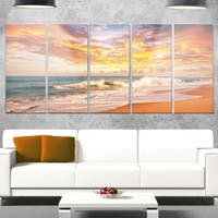Designart 'Waves under Colorful Clouds' Large Seashore Glossy Metal Wall Art