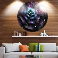 Designart 'Green Fractal Flower in Dark' Floral Digital Art Large Disc Metal Wall art