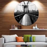 Designart 'Dark Brooklyn Bridge' Cityscape Photo Disc Metal Artwork