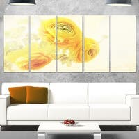 Designart 'Bunch of Yellow Ranunculus Flowers' Floral Glossy Metal Wall Art