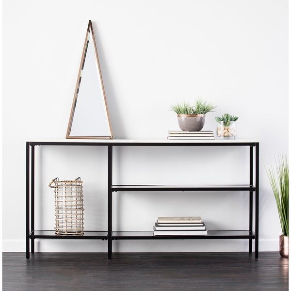 Beau Holly U0026amp; Martin Corman Black W/ Gray Faux Marble Narrow Console Table