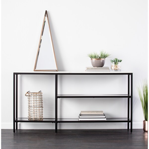 Holly & Martin Corman Narrow Black and Grey Faux Marble Console Table