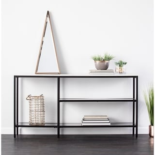 Ordinaire Holly U0026amp; Martin Corman Black W/ Gray Faux Marble Narrow Console Table