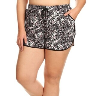 Women's Plus Size Shorts with Drawstring Waist Tie Floral Boardshorts