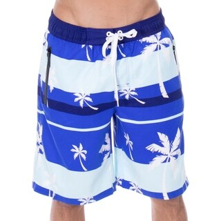 Men's Alvin Striped Palm Tree Print Swim Trunks Board Shorts