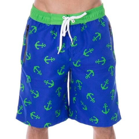 Men's Jake Anchor Print Elastic Waistband Swim Trunks