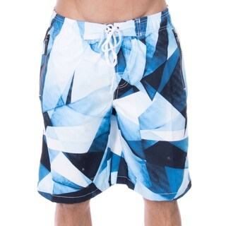 Men's Jayden Triangle Geo Print Elastic Waistband Swim Trunks