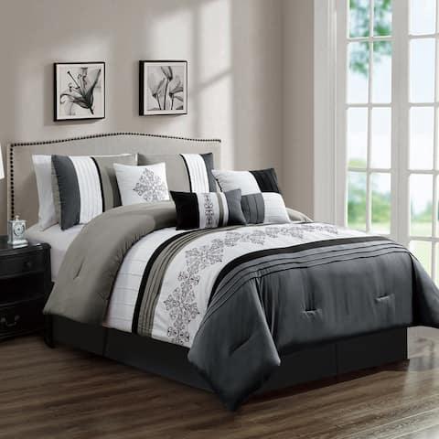 Elight Home Polyester Microfiber 7pc Comforter Set - Grey