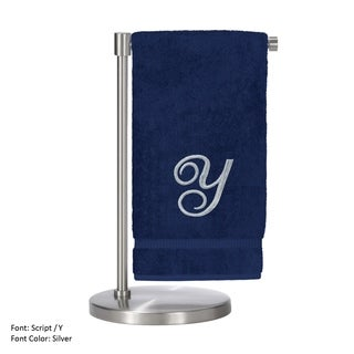 Silver Script Monogrammed Turkish Cotton 27x54-inch Bath Towel (set of 2) - Y