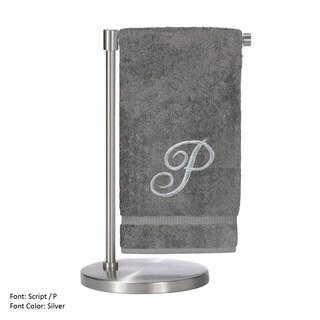 Silver Script Monogrammed Turkish Cotton 27x54-inch Bath Towel (set of 2) - P
