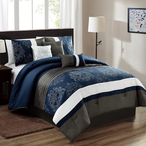 Elight Home Polyester Microfiber 7pc Comforter Set - Navy