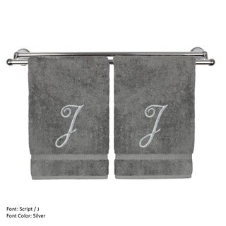 Monogrammed Washcloth - 13x13 Inches - Set of 2 - Silver Script Embroidered Towel - Turkish Cotton - Initial J Gray