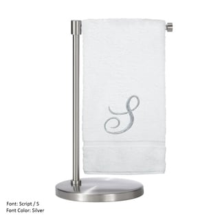 Monogrammed Bath Towel, 27 x 54 Inches - Set of 2 - Silver Script Embroidered Towel - Turkish Cotton - Script S White