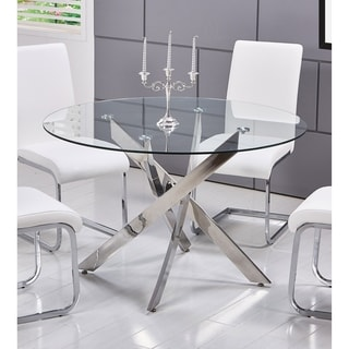 Wonderful Best Master Furniture T01 Round Glass Dining Table   Silver