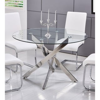 Best Master Furniture T01 Round Glass Dining Table   Silver