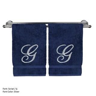 Silver Script Monogrammed Turkish Cotton 16x30-inch Hand Towel (set of 2) - G