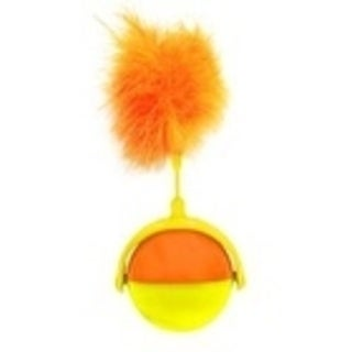 Kitty Connection Orange and Yellow Tumbler Rolling Ball with Feather Cat Toy