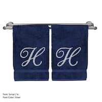 Silver Script Monogrammed Turkish Cotton 16x30-inch Hand Towel (set of 2) - H