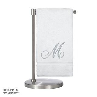 Silver Script Monogrammed Turkish Cotton 27x54-inch Bath Towel (set of 2) - M