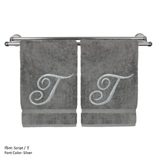 Monogrammed Washcloth - 13x13 Inches - Set of 2 - Silver Script Embroidered Towel - Turkish Cotton - Initial T Gray