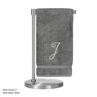 Silver Script Monogrammed Turkish Cotton 27x54-inch Bath Towel (set of 2) - J