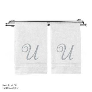 Silver Script Monogrammed Turkish Cotton 13x13-inch Washcloth (set of 2) - U