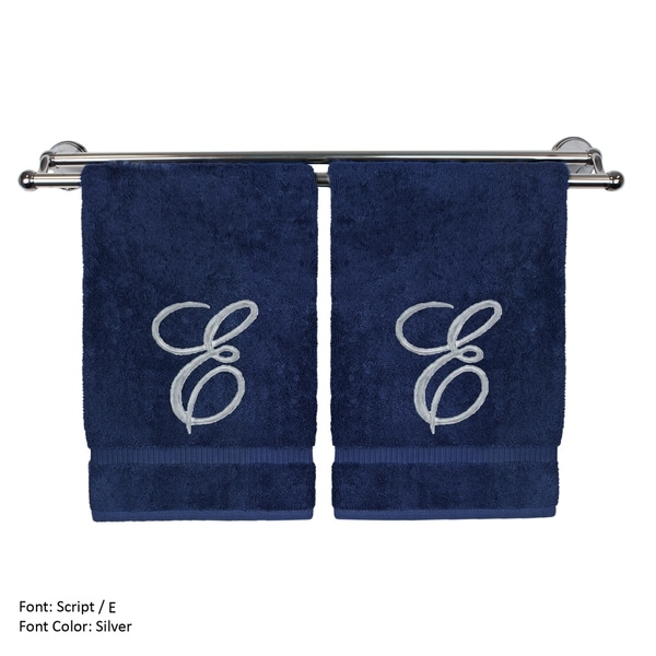 Silver Script Monogrammed Turkish Cotton 16x30-inch Hand Towel (set of 2) - E