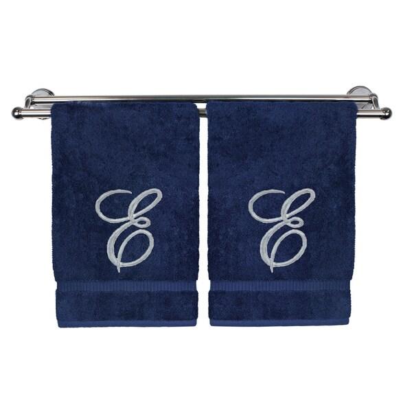 Silver Script Monogrammed Turkish Cotton 16x30-inch Hand Towel (set of 2) - E