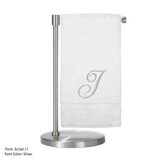 Silver Script Monogrammed Turkish Cotton 27x54-inch Bath Towel (set of 2) - I