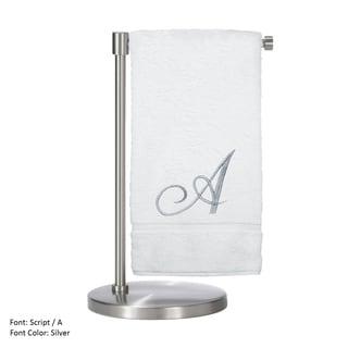 Silver Script Monogrammed Turkish Cotton 27x54-inch Bath Towel (set of 2) - A