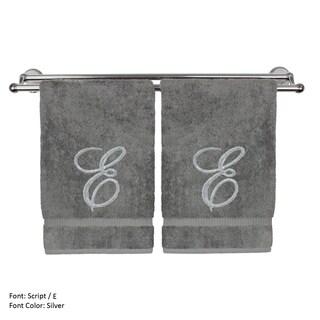 Silver Script Monogrammed Turkish Cotton 13x13-inch Washcloth (set of 2) - E