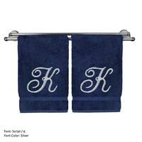 Silver Script Monogrammed Turkish Cotton 16x30-inch Hand Towel (set of 2) - K