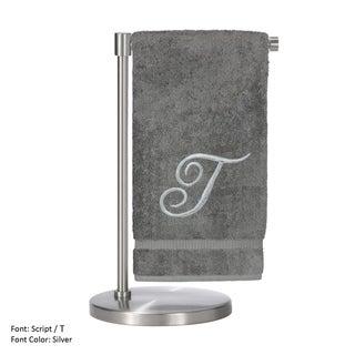 2-piece Silver T Monogrammed Turkish Cotton Bath Towel Set