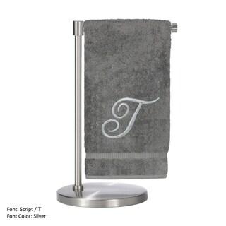 Silver Script Monogrammed Turkish Cotton 27x54-inch Bath Towel (set of 2) - T