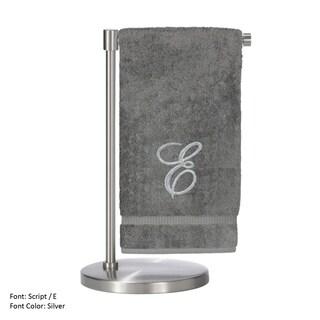 Turkish Cotton Silver Script Monogrammed Script E Grey Bath Towel (Set of 2)