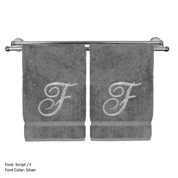 Shop Silver Script Monogrammed Turkish Cotton 16x30-inch