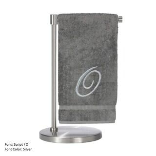 2-piece Silver O Monogrammed Turkish Cotton Bath Towel Set