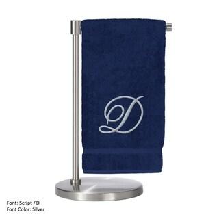 Silver Script Monogrammed Turkish Cotton 27x54-inch Bath Towel (set of 2) - D