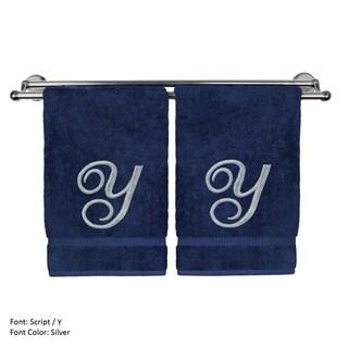 Silver Script Monogrammed Turkish Cotton 16x30-inch Hand Towel (set of 2) - Y